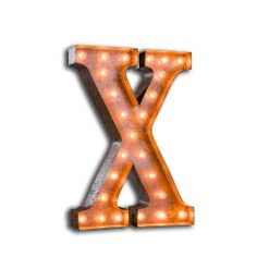 VINTAGE LETTER LIGHT X – Vintage Letter Lights from letterlights.co.uk have a vintage style and enable you to have your own initials, words, expressions, or monograms that illuminate! Reminiscent of Las Vegas hotel signs, circus lights and fairground ride lighting of years gone by. Letter lights look truly stunning and can transform any room at home or event and create a unique focal point. Choose any individual letter from the alphabet and create your own words or name in lights.