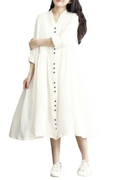 ELLAZHU Women Long Sleeves V Neck Button Pleated Solid Long Dress SJ108 White M -- Awesome products selected by Anna Churchill
