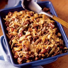 Barbecue Beef & Bean Casserole is topped with corn chips and cheese. Hungry now?