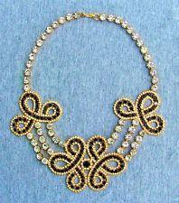 Vintage Kenneth Jay Lane Necklace, Black, White Rhinestones, Gold KJL