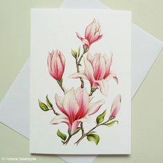 Rosa Magnolia Gemälde große Luxus-Grußkarte von VictoriaDelahoyde