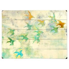 Celebrate naturally chic appeal with this eye-catching wall decor, featuring a flock of birds printed on planked wood. Display it in your parlor for a serene...