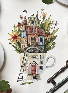 24 Ideas For Children Illustration Pencil Picture Books Watercolor And Ink, Watercolor Illustration, Watercolor Paintings, Watercolour Tutorials, Ink Illustrations, Cute Drawings, Doodle Art, Love Art, Painting Inspiration