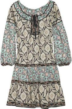 Anna Sui Black Vineprint Silkblend Tunic Dress