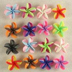 50 PCS Mixed Color Fimo Polymer Clay Colorful Plumeria Flower Beads 20mm