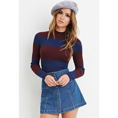 Forever 21 Forever 21 Women's  Striped Ribbed Sweater ($15) ❤ liked on Polyvore featuring tops, sweaters, long sleeve tops, rib sweater, high neck sweater, long sleeve sweaters and striped sweater