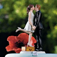A Kiss and We're Off Wedding Cake Topper Travel Honeymoon Bound Vacation Couple - find it at SoCuteInc.com