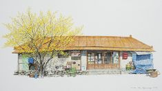 Me Kyeoung Lee : Paint Korea Shop Building Painting, Building Art, Korean Art, Asian Art, Color Pencil Sketch, Ink Pen Art, Urban Sketching, Love Pictures, Art And Architecture