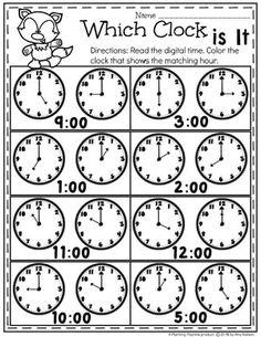 Digital and Analog Clocks – Telling Time Worksheets - Education and lifestyle Clock Worksheets, Money Worksheets, Kindergarten Math Activities, Kindergarten Math Worksheets, School Worksheets, Homeschool Math, Maths, Worksheets For Kids, Fun Math