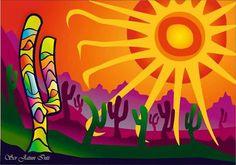 Peyote sunrise? Cactus Drawing, Cactus Art, Dot Painting, Stone Painting, Mexican Paintings, Tree Of Life Art, Mexico Art, Southwest Art, Posca