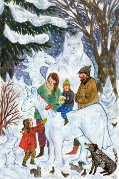 A family portrait I did for the folks over at Sweet Juniper for their annual Christmas card! Watercolor, Phoebe Wahl 2013