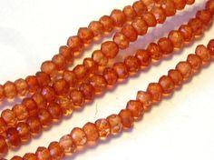 Mystic quartz faceted rondells fire opal orange color