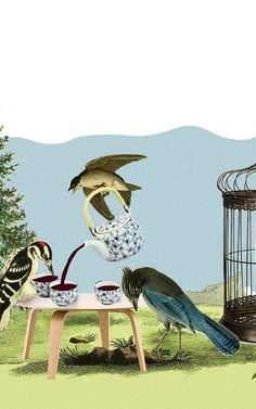 Birds have a tea party while what appears to be a smart phone is in the cage. Image found linked to a Fastcompany.com article on disconnecting from the Internet.