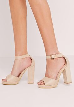 Missguided - Platform Block Heel Barely There Sandals Nude