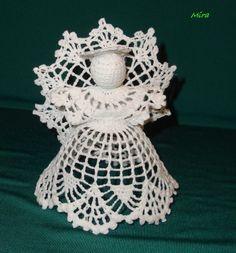 Crochet white angel Crochet Christmas by SevisMagicalStitches Crochet Christmas Ornaments, Christmas Angels, Christmas Crafts, Crochet Angel Pattern, Crochet Angels, Chunky Crochet, Free Crochet, Lace Patterns, Crochet Patterns