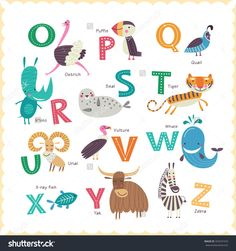 Cute Vector Zoo Alphabet With Animals In Cartoon Style. Part 2. - 353547473 : Shutterstock