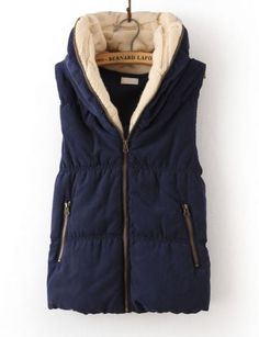 Navy Hooded Sleeveless Zipper Cotton Vest
