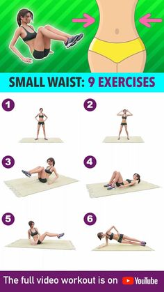 Full Body Gym Workout, Small Waist Workout, Fitness Workout For Women, Fitness Workouts, Butt Workout, Easy Workouts, At Home Workouts, Exercises For Smaller Waist, Slim Waist Workout