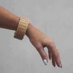 Pravidelný, woven bracelet rattan, weaving, impregnation beeswax, broad bracelet, nature, natural