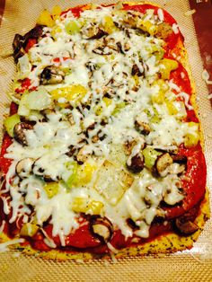 Coconut flour pizza crust from Dr Axe. Added marinara, pepperoni, mushrooms, yellow peppers, onion, cheese.  Also added a tablespoon of chia seeds, a tbls of tapicoa flour - a little flax seed.