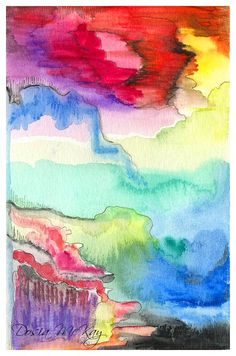 Lush by Dosia McKay, Watercolors and pencil on paper 5.75 x 3.75 in (14.5 x 9.5 cm) #painting #fineart #postcard