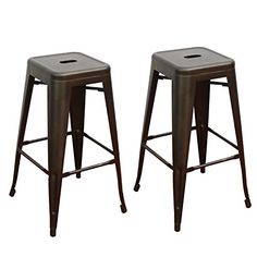 Joveco 30 Inches Sheet Metal Frame Tolix Style Industrial Chic Chair Backless Bar Stool - Set of 2 (White) Wholesale Price Available Dining Room Chairs Ikea, Wayfair Living Room Chairs, Leather Dining Room Chairs, Outdoor Dining Chair Cushions, Arm Chairs, Dining Area, Accent Chairs, Patio Bar Stools, Counter Bar Stools