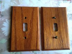 Light Switch Cover Plates Vintage Wood Light to Dark Cherry Color Retro 80s Inspired by annimae182 on Etsy