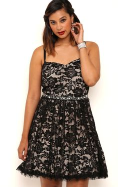 Deb Shops Plus Size Short Eyelash Lace Corset Dress with Belted Waist $82.50