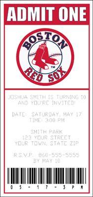 Boston Red Sox Ticket Invitation -Baseball Invitation ...