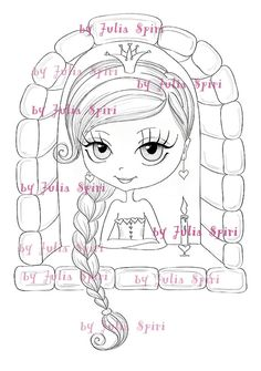 Faça o Download Digital Digi selos, selos Princesa, selo Digital, Scrapbooking imprimíveis, páginas para colorir, arte de linha.  Princesa no Castelo