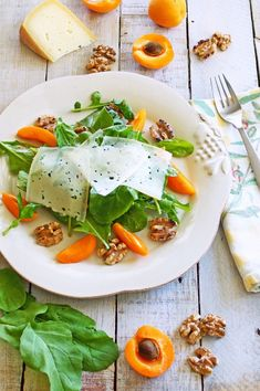 arugula, apricot and walnut salad with apricot-pinot noir vinaigrette. So simple