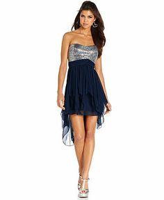 Sequin Hearts Juniors Dress, Strapless Sequin High-Low - Juniors Dresses - Macy's