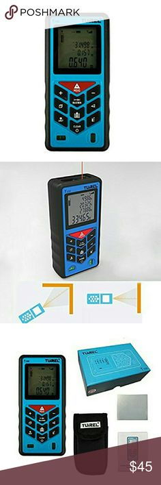 328' Laser Distance Measurer w/Backlit Display NWT Blue Portable Laser Distance Meter w/Belt Clip Carry Case Backlit Display Measures 328ft W/precision laser technology it is able to measure distance from 0.03-100m with accuracy of ?2mm for fast easy & accurate estimates Pocket-sized handy measuring tool offering length, width, height & clearance measurements in inches, feet , decimal feet, and metric units. Area, Volume, Length Multi Measurement Modes Single distance & Area Measurement…
