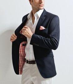 Men's White Dress Shirt, White and Red Gingham Pocket Square, White Chinos, Black Leather Belt, and Navy Blazer