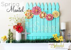 Vibrant Spring Mantel - Positively Splendid {Crafts, Sewing, Recipes and Home Decor} Diy Décoration, Diy Crafts, Easter Backdrops, Do It Yourself Inspiration, Easter Pictures, Diy Backdrop, Spring Photos, Do It Yourself Home, Diy Wall Art