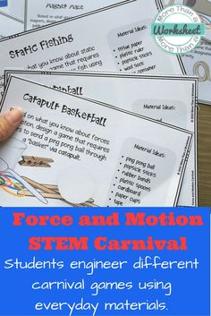 Force and Motion STEM Carnival! This is a fun STEM activity that includes 26 task cards for creative STEM engineering challenges. Students will construct carnival games and use their knowledge of force and motion to explain the science behind it. More Tha
