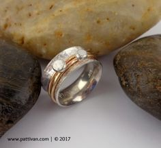 Sterling Silver and Double Gold and Silver Spinner Ring