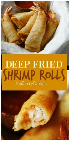 3 Ingredient Deep Fried Shrimp Rolls is on top of my list as my Christmas dinner appetizer. It only has 3 Ingredients, very easy to make and super delicious. Also I can make it ahead of time and just freeze them. Egg Roll Recipes, Fish Recipes, Seafood Recipes, Appetizer Recipes, Cooking Recipes, Fried Shrimp Recipes, Dinner Recipes, Deep Fried Recipes, Chinese Shrimp Recipes