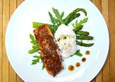 Asparagus & Arugula Salad with Honey-Mustard Crusted Salmon