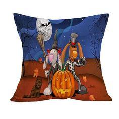 44*44CM Pillowcase Halloween Pumpkin Cushion Cover Printed Pillows For Festival DIY Decorative Cojines HousSe De Coussin #DIYHomeDecorHalloween