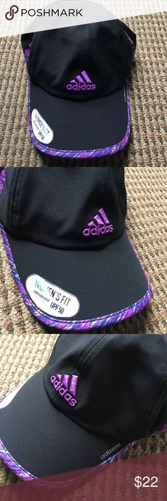 Adidas Adizero Hat Super cute jet black color with purple, pink, grey and blue detailing. Material is similar to the Nike dri-fit. Super comfortable, flexible and adjustable! Fast shipping  Adidas Accessories Hats