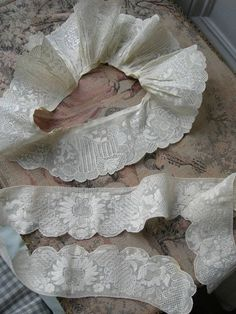 18thC handmade Dresden whitework lace embroidery flounces