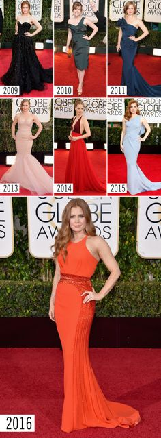 AMY ADAMS STYLE EVOLUTION: Here you'll find *the best* red carpet looks from the Golden Globes. The gowns, the accessories, the hair, and makeup just keep getting better and better! Find the best ~red carpet~ style inspiration here.