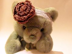 Lace Baby Photo Prop Headband with Crocheted Mauve by Starfall, $8.00