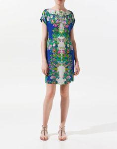 Zara Woman Celebrity Blue Floral Flower Print Tunic Dress Size XS Extra Small | eBay