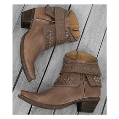 Corral Studded Cowboy Boot ($151) ❤ liked on Polyvore featuring shoes, boots, brown, side zip boots, western style boots, short boots, studded boots and short cowgirl boots
