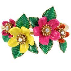 Betsey Johnson Tropical Punch Flower Hinge Bangle ($65) ❤ liked on Polyvore featuring jewelry, bracelets, braceletes, multi, hinged bangle, antique gold jewellery, flower bangle, flower jewelry and betsey johnson bangle