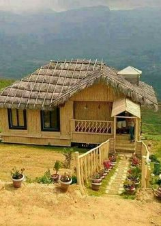 My beautiful nature Bamboo House Design, House Front Design, Village House Design, Village Houses, Bamboo Architecture, Beautiful Architecture, Hut House, House Plants Decor, Unusual Homes