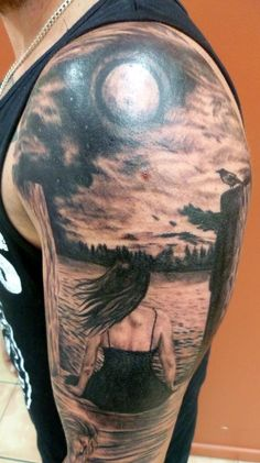 realistic moon tattoo - Ive always wanted a landscape tattoo on my whole back ... Maybe something like this
