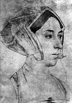A sketch of Anne Boleyn. Holbein's portraits of her may have been destroyed by…